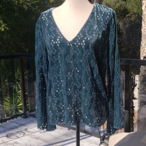 Nwt Johnny Was Eyelet Velvet blouse size Small